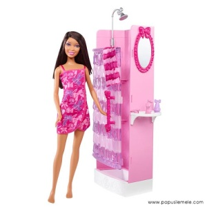 Barbie-Doll-Glam-Shower-African-American-Doll-Set1